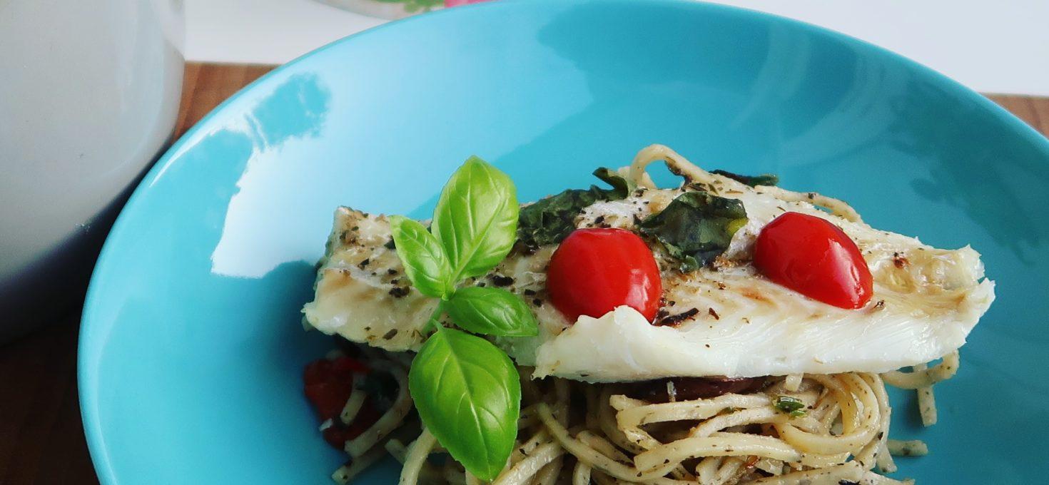 Verse spaghetti aglio e olio met kabeljauw