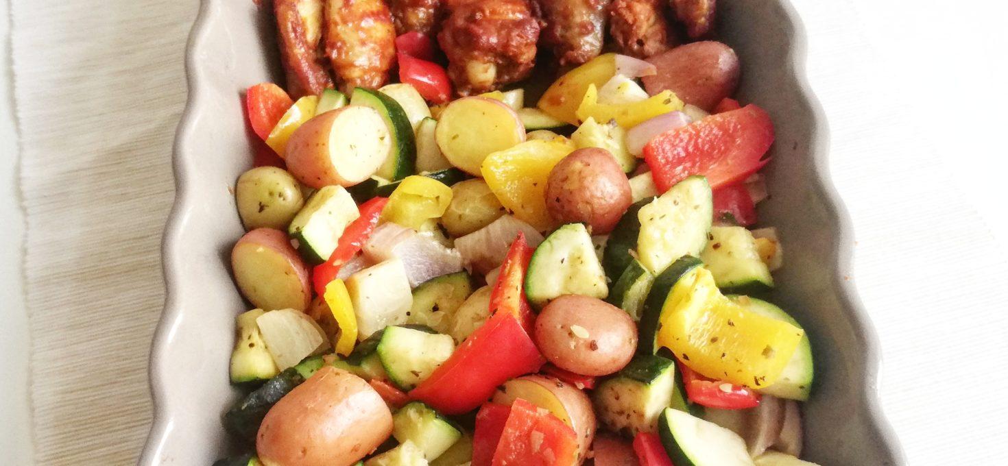 Krieltjes, vleugels en groente uit de oven