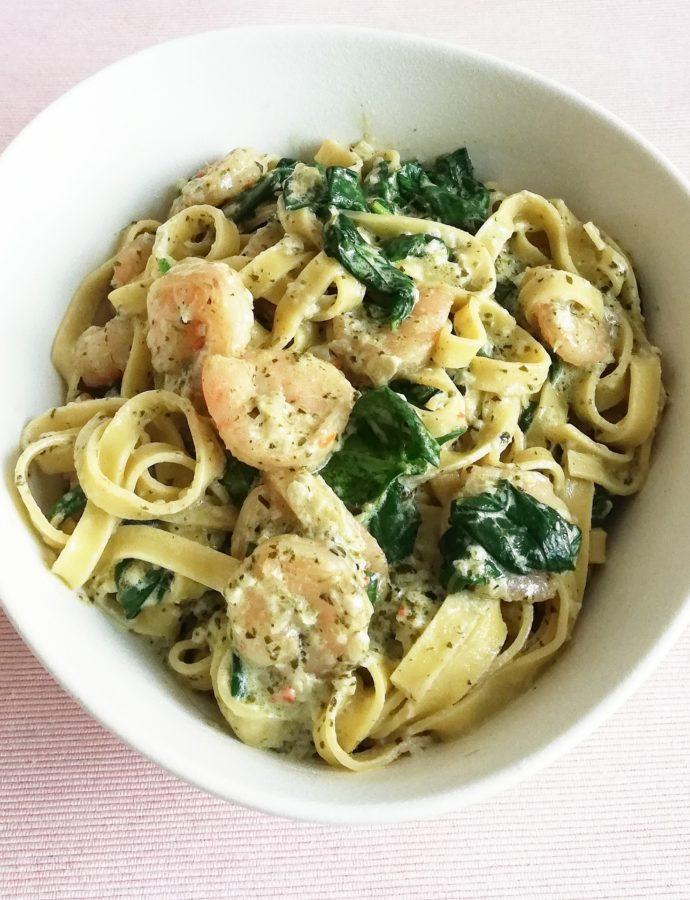 Pasta Scampi met spinazie roomsaus
