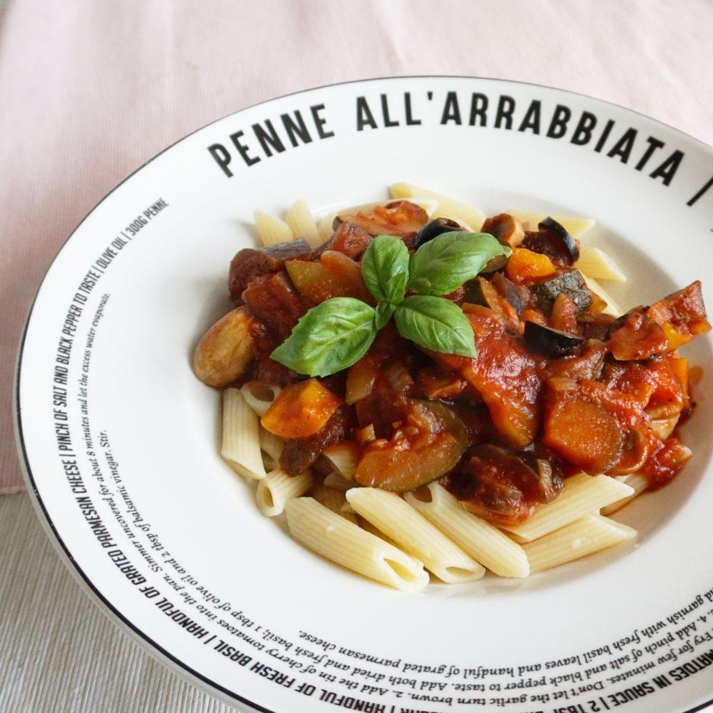 pasta met Mediteraanse groenten en olijven