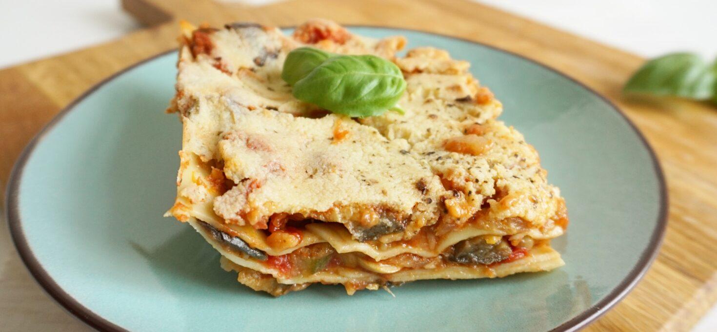 Vegan lasagne met Mediterraanse groente