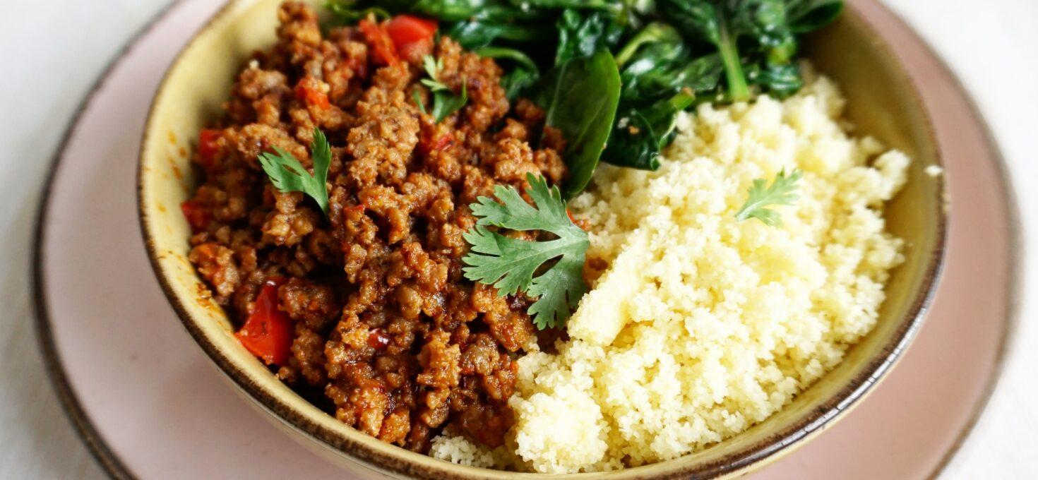 Couscous met gekruid lamsgehakt