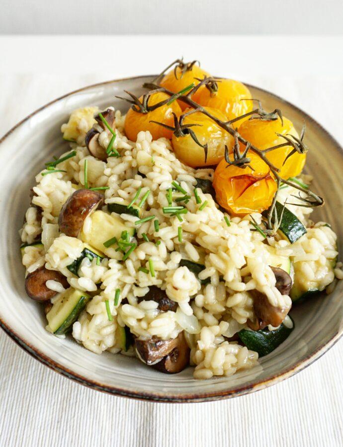 Romige vegan risotto met geroosterde groente