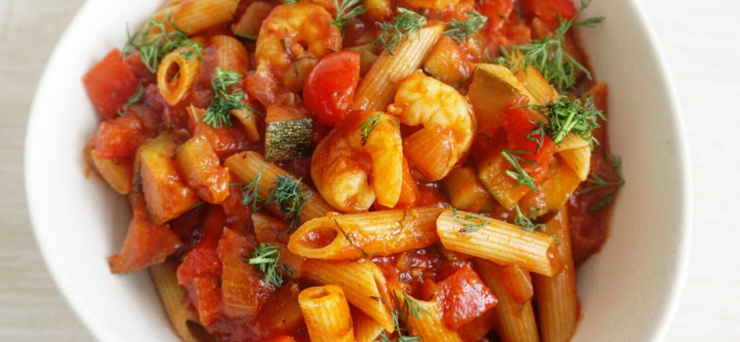 Makkelijke Pasta Scampi in tomatensaus, net als bij Vapiano