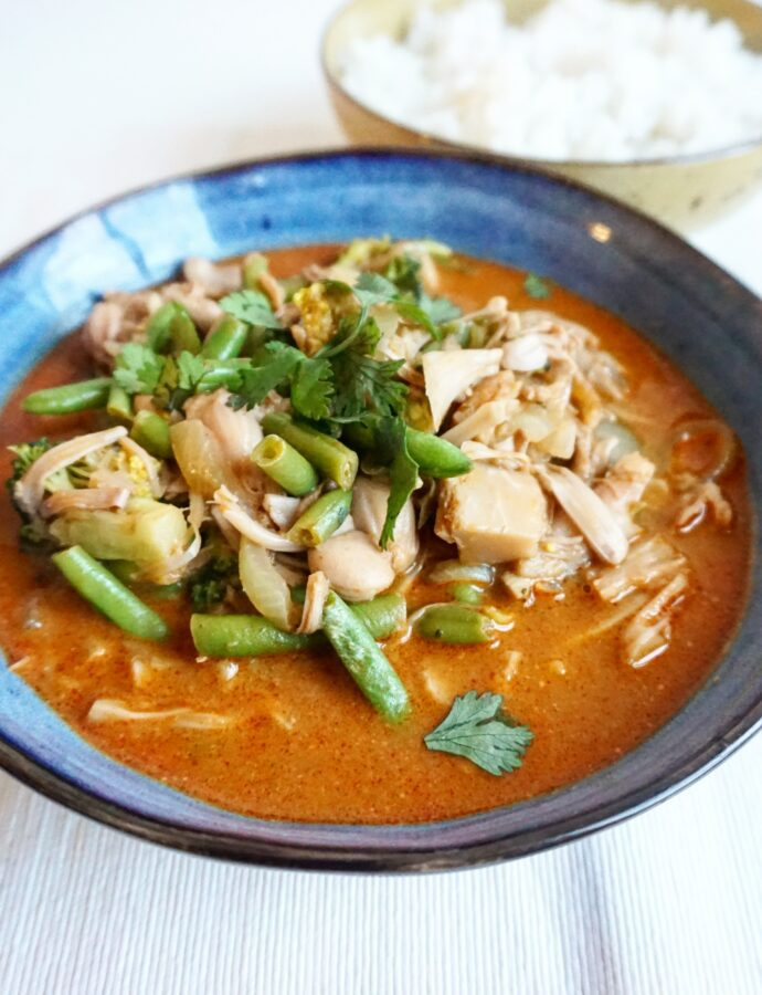 Thaise rode vegan curry met jackfruit