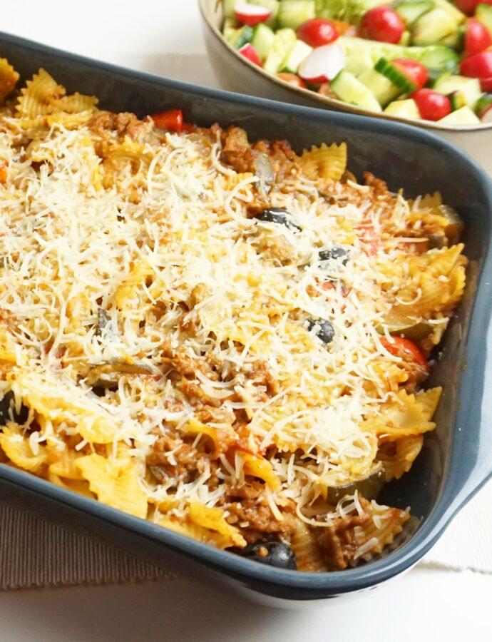 Vegan pastaschotel uit de oven
