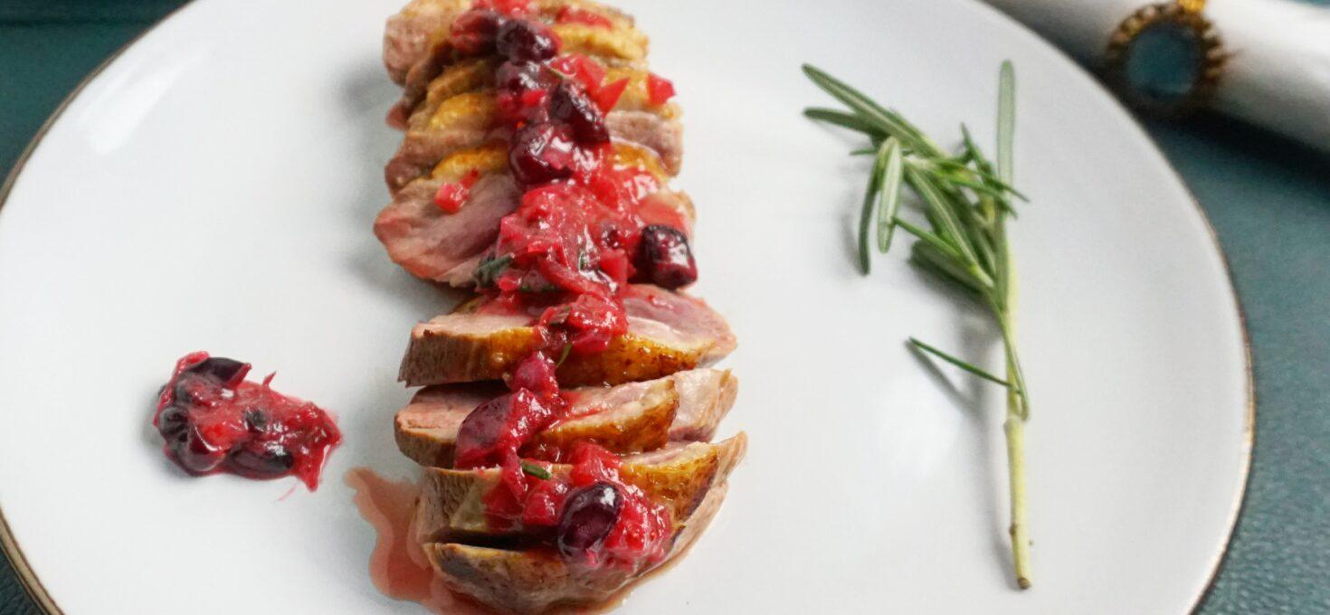 Eendenborstfilet met cranberrysaus