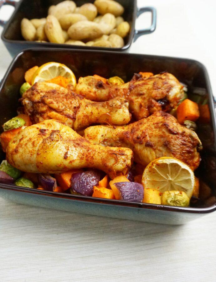 Kip in harissa met pompoen uit de oven