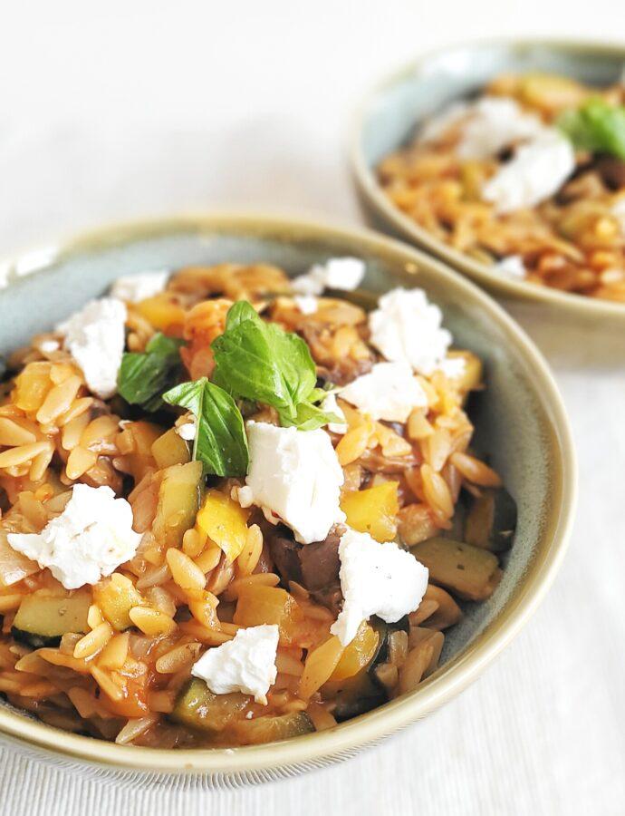 Griekse orzo met groente en feta