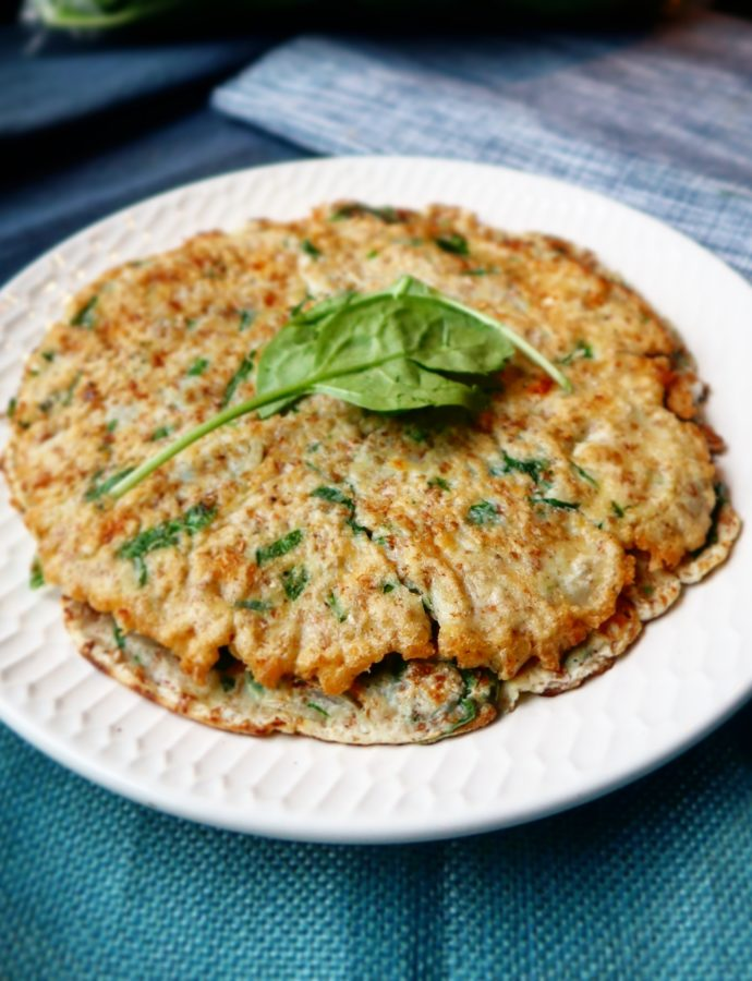 Pannenkoeken met spinazie en feta