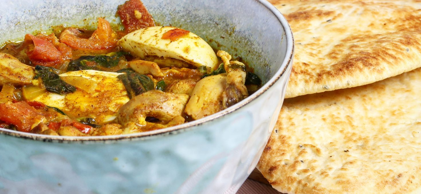 Indiase curry met kip en spinazie