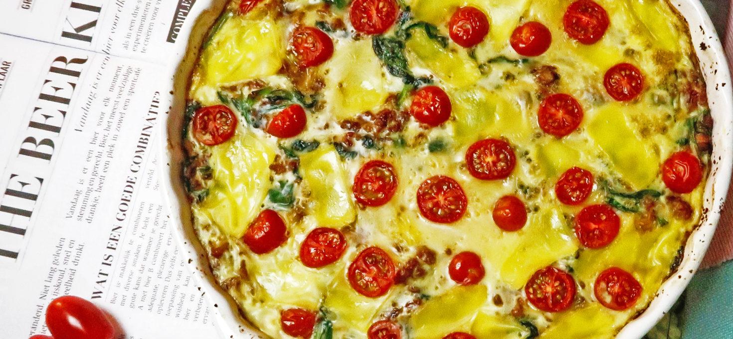 Quiche met bloemkoolbodem, kipgehakt en (vegan)kaas