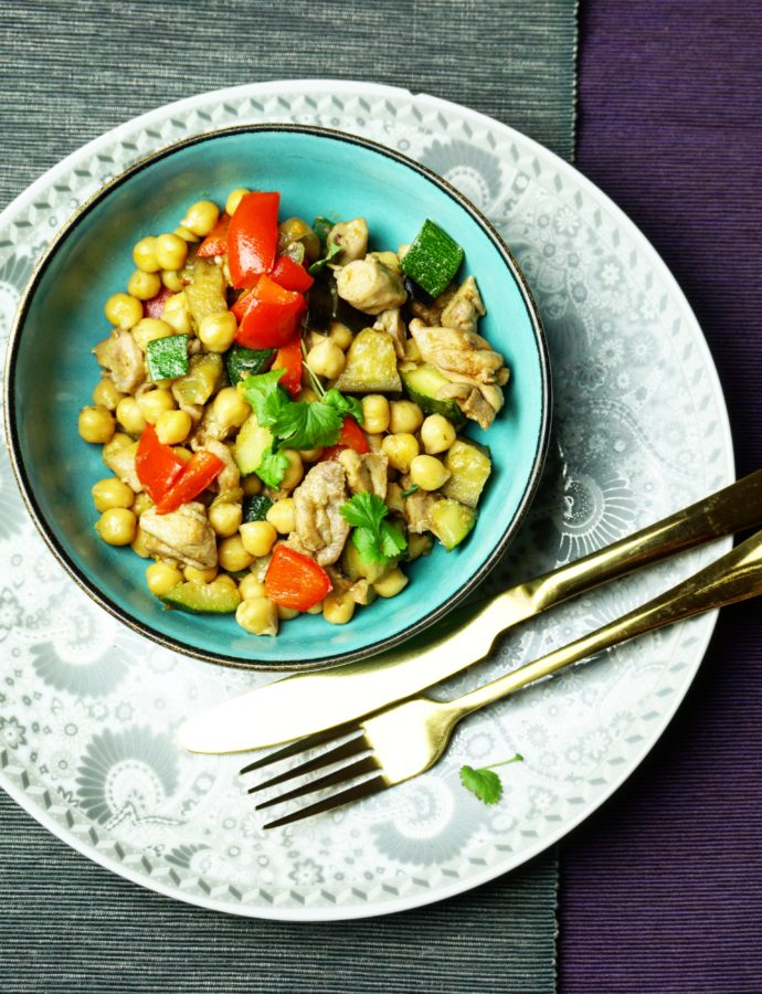 Kikkererwten met kip en groente