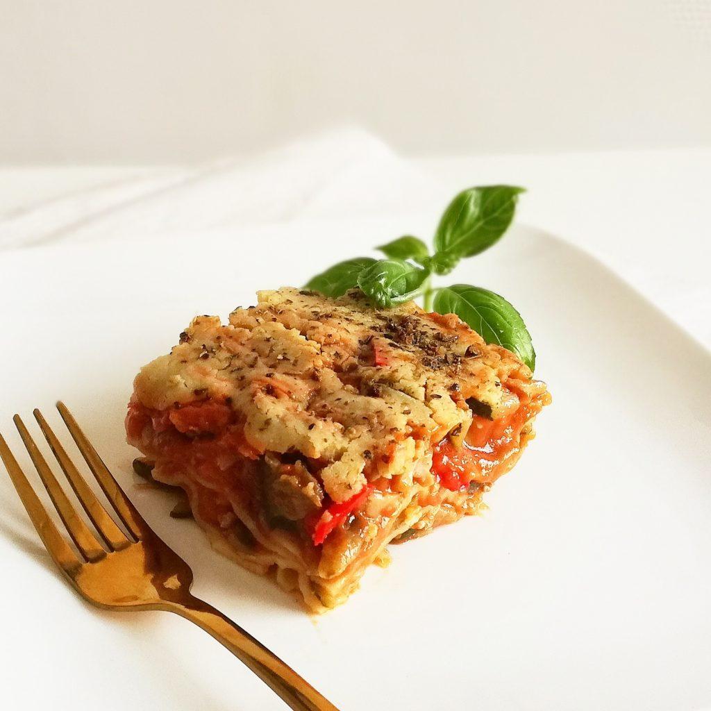 Lasagne met kipgehakt en Mediterraanse groente