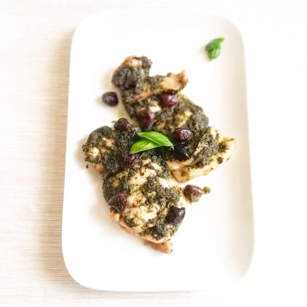 Kip pesto met olijven